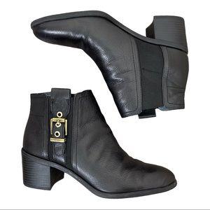 Franco Sarto Eminent Black Leather Booties Buckle